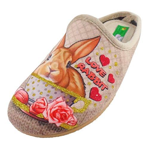 ALBEROLA Hausschuh/Pantoffel HELLE Sohle HASE Love Rabbit A16679A (38)