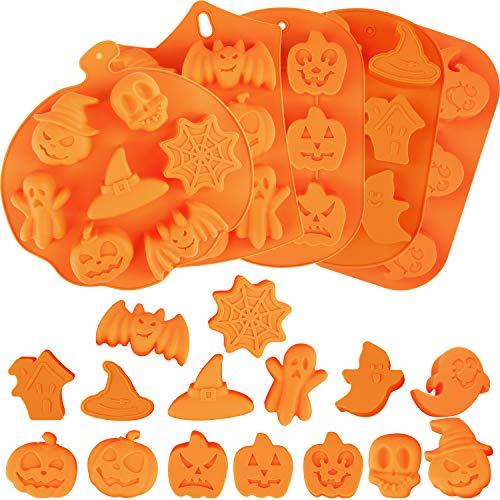 Aneco 5 Stück Halloween Silikon Backformen Süßigkeiten Silikonformen mit Kürbis Schokolade Cupcakes Fledermaus Schädel Geist Form für Halloween Küche DIY Backwerkzeuge