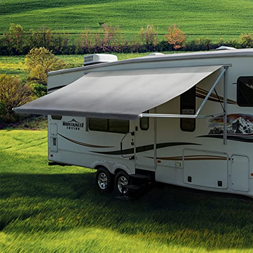 RecPro RV Awning Fabric 17 Foot Camper Awning   Gray   Width Size Options   8' (96') Length RV Awning Replacement   Heat-Sealed   3 Year Warranty (17 Feet, Actual 16' 1')