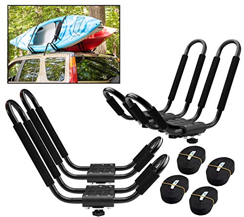 PaddleSports+ Kayak Roof Rack Sets for Cars and SUVs - Two Sets with Straps - Universal Fit Carriers Mount on Crossbars for Easy Travel with Kayaks Canoes Paddleboards and Surfboards