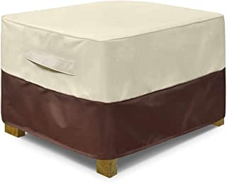 "Sqodok Patio Ottoman Cover Waterproof, Square Outdoor Side Table Furniture Covers with Handle Windproof Straps, 25"" Lx 25""..."