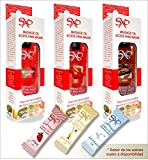 Aceite para Masaje sabor Fresa, Chocolate y Cereza 60 ml + 3 lub 3 ml SXO kit Comestible, Termico e Hipolergenico