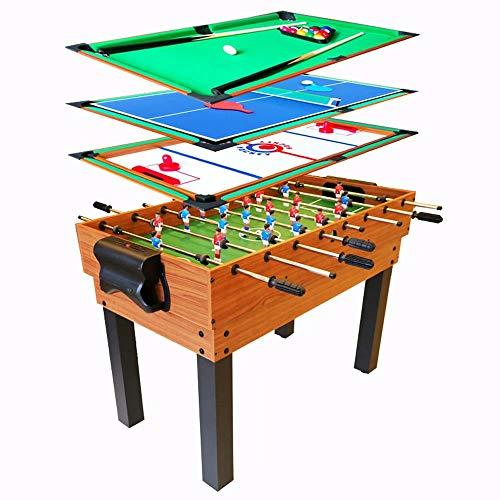 FSJD Mesa multijuego 4 en 1, Mini Mesa de Billar, futbolín, Mesa de Hockey de Aire, Mesa de Ping Pong, Mesa de Ping Pong, niños Adultos