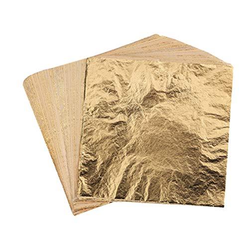 1000 Sheets Leaf Imitation Gold Leaf, Silver Leaf, Rose Gold Leaf for Arts, DIY,Gilding Crafting, Decoration, Furniture, 14×14 cm (Gold)