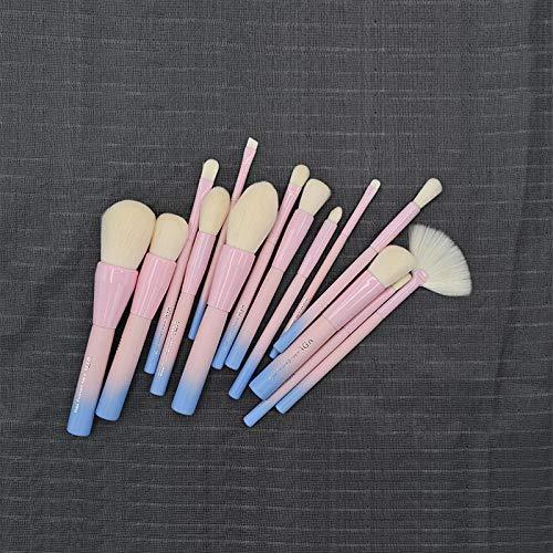 MPKHNM Powder blue gradient makeup brush wooden handle fiber brush blush foundation brush set beauty makeup tool pink