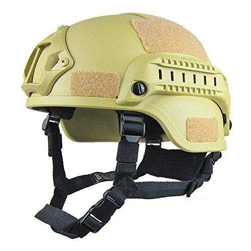 Gezichta Gefechtshelm mit Halterung für Nachtsichtgerät und Seitenschiene für Softgun / Paintball-Waffe, im Mich 2000Stil, sand colours