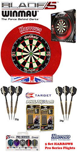 Winmau Blade 5 + Harrows Surround rot + 2 Set Phil Taylor Darts + Abwurflinie + 5er Set Flights