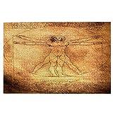 Minalo Picture Puzzles 1000 Pezzi,Foto dell'uomo Vitruviano di Leonardo da Vinci del 1492, Divertente Gioco di Famiglia Decorazioni per la Casa da Appendere,29.5 x 19.7 Pollici