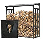 QUICK STAR Metall Kaminholzregal Anthrazit 143 x 70 x 145 cm Garten Kaminholzunterstand 1,4 m³ / 2 Schüttraummeter Stapelhilfe Aussen mit Wetterschutz Schwarz