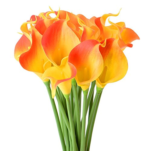 StarLifey 20 Stück Calla Lily Bridal Bouquet der Blumen Künstliche Blumen, für Brautsträuße geeignet, aus Latex fühlt Sich echt(Sonnenuntergang)