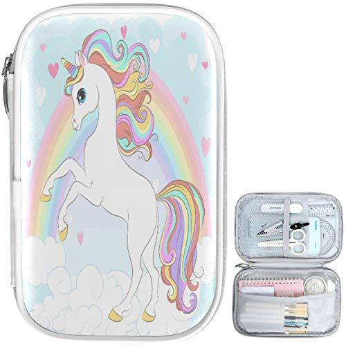 Oarencol weißes Einhorn Regenbogen Federmäppchen magisches Tier Wolke Herz Reißverschluss Stifttasche große Kapazität Kosmetiktasche Schreibwarenbox