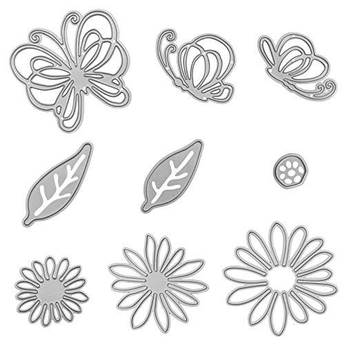 DaKuan - Set di 9 fustelle per stencil in metallo, motivo: farfalle, fiori, foglie e goffratura, per scrapbooking, album di carta, fai da te