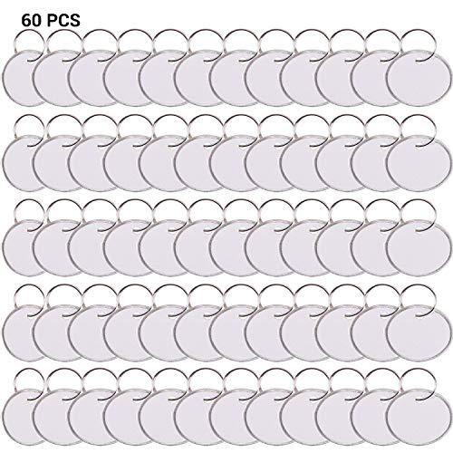 60er Pack runde Schlüsselanhänger mit geteiltem Ring, 3.1cm runde Metallfelge etikettiert Papierschlüsselanhänger, Weißes Etikett.