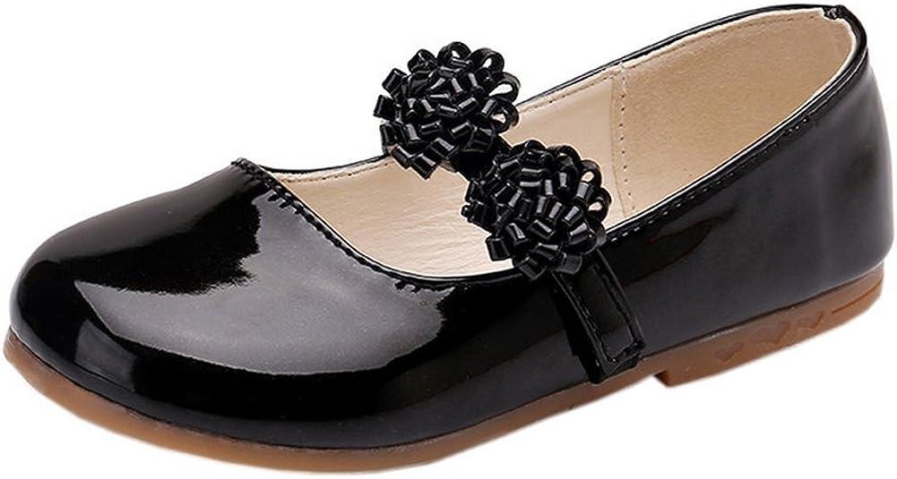 Vokamara Flower Girl Shoes Basic Round Toe Patent Ballerina Flat