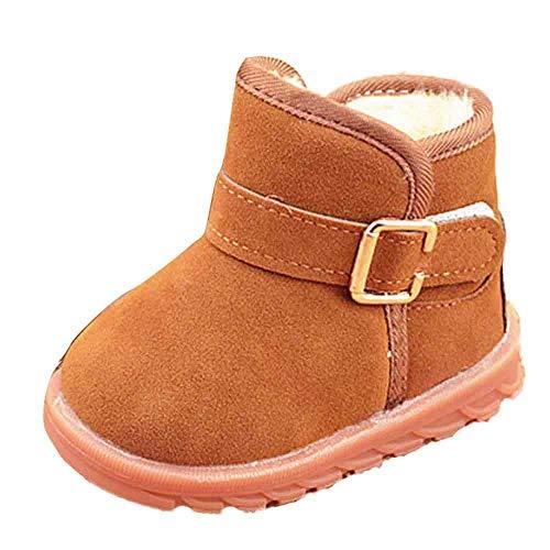 KUDICO Mädchen Jungen Baby Stiefel Winter Warme Plüsch Gefüttert Warm Hüttenschuhe Kuschelige Indoor Outdoor Pantoffeln Schuhe Schlupfstiefel (Braun, 29 EU/6-7 Jahre)