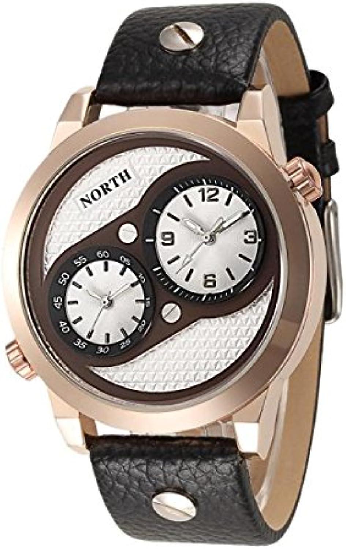 RedBrowm North Three Time Movements Quartz Wrist Watch Leather Sports Mens Watch