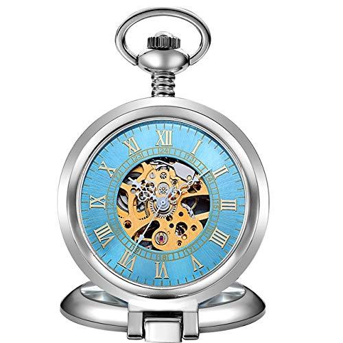 YYSD Reloj de Bolsillo y Relojes de Plata Antigua a la Moda, Reloj mecánico, Esqueleto de Viento a Mano, Reloj de Bolsillo para Hombre con Cadena