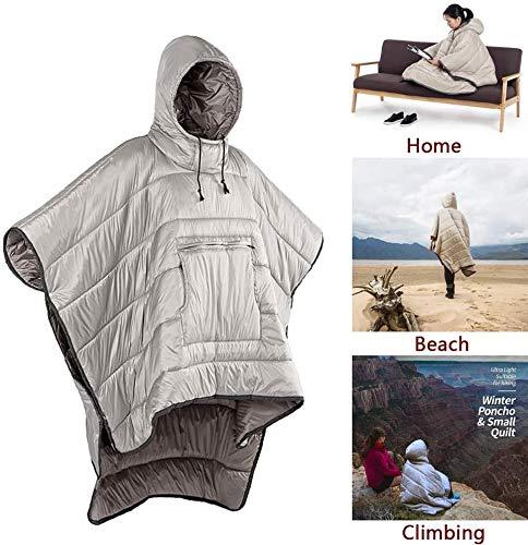 MMW - Saco de dormir para adulto, manta con capucha, portable, para exteriores Honcho Poncho, abrigo cálido, resistente al viento, capa resistente al agua, capa para clima frío al aire libre, hogar u oficina, color caqui