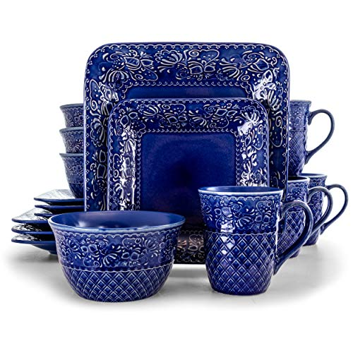 Elama Contemporary Square Embossed Stoneware Dinnerware Dish Set, 16 Piece, Indigo Blue
