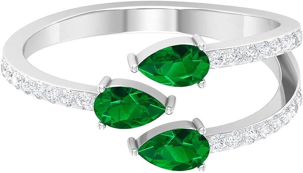 0.51 Ct SGL Certified Emerald Gold Cuff Ring, 0.19 Ct Antique Diamond Bridal Ring, Pear Shape Gemstone Wedding Ring, Three Stone Women Promise Ring, 14K Gold