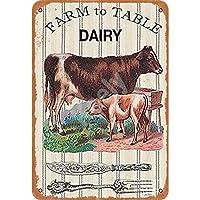 農場から食卓までの乳製品レトロメタルブリキサインプラークポスター壁の装飾アートみすぼらしいシックなギフト-20x30cm
