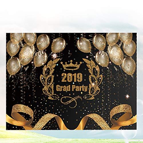 Amosfun 2019 Afstuderen Fotobehang Zwart En Goud Partij Fotografie Backdrops Afstudeerfeest Decoraties benodigdheden (210x150cm, Zonder Plank)