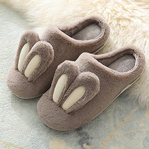 Zapatillas De Estar En Casa NiñO,Zapatillas De AlgodóN De Suela Gruesa, Orejas De Conejo Bonitas para Mujer, Zapatos De Suela Suave para Interiores CáLidos Y Resistentes Al Desgaste Antideslizantes D