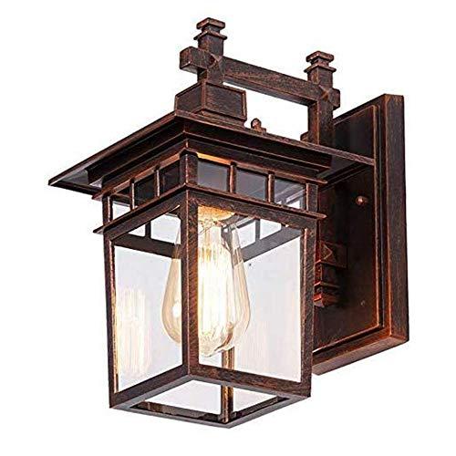 Außenwandleuchte Retro Vintage Rot Bronze Wandlampe Wasserdichter IP44 E27 Außen Licht Aluminiumguss und Glas Außenlampe Balkon Zaun Gartenlampe Einfahrt leuchte 22 * 18 * 29 cm
