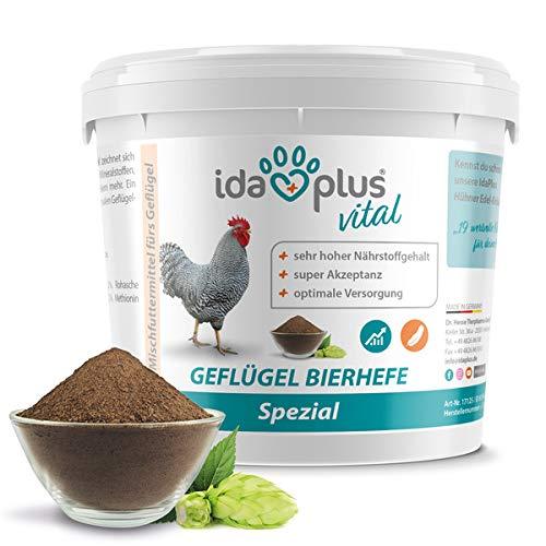 Ida Plus - Geflügel Bierhefe Spezial - 1500 g - Futterergänzung für Hühner, Wachteln & anderes Geflügel - reich an B-Vitaminen, Aminosäuren, Mineralien & Spurenelemente - unterstützt die Federbildung