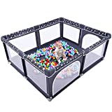 Baby playpen, Playpens for Babies and Toddlers, ANGELBLISS Extra Large Playard, Kids Safety Play Center Yard Play Pen with Gate for Infants, Outdoor Play Yard with Five-Pointed Star Print (Black)