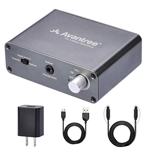 Avantree DAC Digital to Analog Audio Converter Box Adapter with Toslink Optical Cable, Volume Control, 192Hz, TV SPDIF Optical / Coaxial Input, Headphone / Speaker 3.5mm RCA output - DAC01