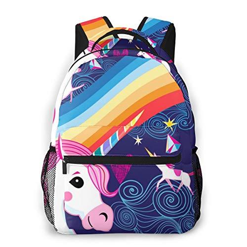 REDB Bright Poster mit Regenbogen- und Einhörnchen-Rucksack, Schul-Studentententasche, Mädchen, Jungen, Kinder, Schultertasche Daypack