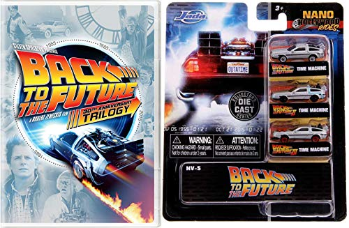"Doc, Biff + THOSE Nike Air Mags! - Back To The Future Trilogy DVD + Jada Nano Hollywood Rides: 1.65"" Back to the Future Time Machine 3 Car Set Bundle"
