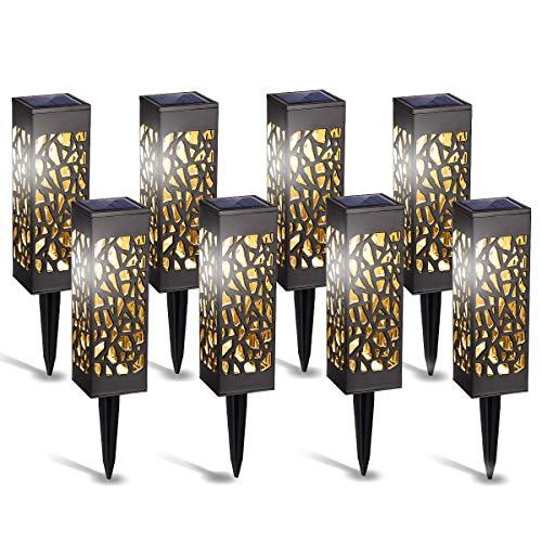 GIGALUMI Solarleuchten Garten 8 Pack warmweiße Solar Gartenleuchte wasserdichte Solarlampen für außen, Garten, Terrasse, Rasen, Hof, Gehweg