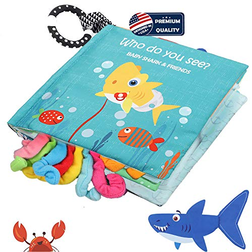 Baby Shark Cloth Book Soft Fabric Activity BooksTails bookSea Animal Fish Sharks Crinkle Books Toys for Early Education For BabiesToddlers InfantsKids With Teether RingTeething Book Baby Octopus