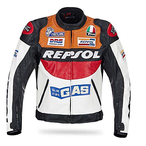 Duhan Moto GP Repsol Racing - Giacca in pelle VS02, arancione, blu, M, L, XL, XXL, 3XL, in poliuretano, alta qualità, veloce (arancione, medio)