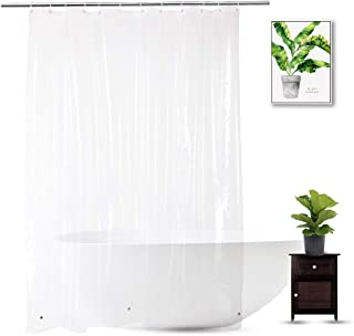 WellColor Clear Shower Curtain Liner 72 x 75 inch, PEVA Heavy Duty Shower Liner with 3 Weighted Magnets, Transparent, 100% Waterproof