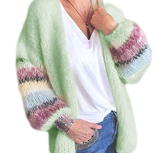 JHD Frauen Herbst warm Mohair Strick Cardigan Candy Farbe Open Front Sweater Mantel gestreifte Laterne Langarm Casual Loose Outwear