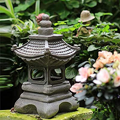OwMell Japanese Style Asian Decor Pagoda Lantern Indoor Outdoor Statue Zen Garden 13 Inch Resin