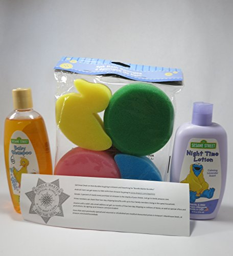 Best Baby Bath Kit For New Babies-4 Piece Baby Bath Gift Set- Sesame Street Hypo-Allergenic Gentle Baby Shampoo 10 Fl Oz, Sesame Street Calming Lavender Scent Night Time Lotion 10 Fl Oz, 4-Pack of Colorful Fun Bath Sponges, Bundle Master Bundle Official Seal and Guide