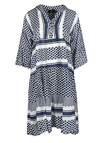 Zwillingsherz Sommerkleid im modernen Design – Hochwertiges Freizeitkleid für Damen Frauen Mädchen - Abendkleid Strandkleid - Locker luftig - OneSize - Perfekt für Frühling Sommer und Herbst - Navy