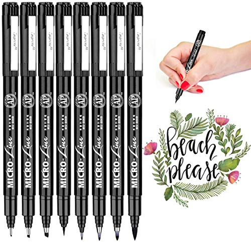 Hand Lettering Pens, Caligraphy Brush Pens Art Markers Black Ink Set for Beginners Writing, Drawing, Artist Sketch, Watercolor Illustration, Scrapbooking, Bullet Journaling, 8 Size/Set