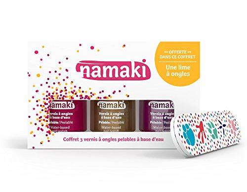 Namaki- Coffret Vernis pelables Framboise-Or-Fuchsia + Lime à Ongles Vegan, 110902,