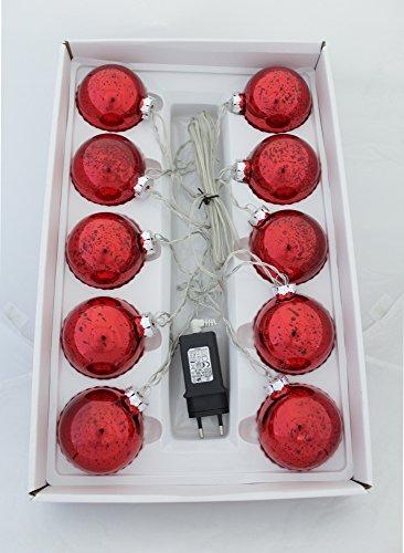 Decoline LED Weihnachtskugeln 10 Stück Ø 7cm (batteriebetrieben - rot)