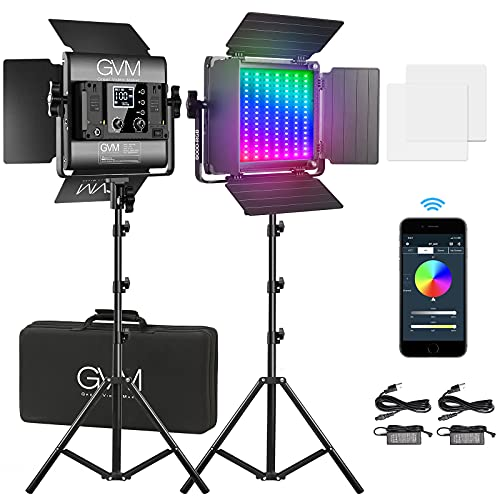 Luz de Video LED GVM con trípode, Control de aplicación Iluminación de Video RGB en Color CRI97 Regulable 3200K-5600K Iluminación de Fotos LED para cámara de Estudio de Youtube