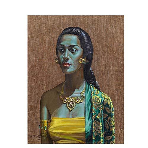 nr Tretchikoff Vintga Balinese Girl Portrait Carteles e Impresiones en Lienzo Imagen de Pared escandinava para Sala de Estar 50x70cm sin Marco