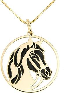 forme di Lucchetta per Donna - Collana in Vero Oro Giallo con Cavallo Baio o Morello realizzati su Medaglia Pendente - 45c...