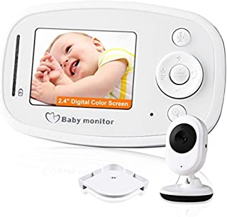 Baby Monitor Audio Only Long Range Built-in Lullaby Two-Way Speaker with Night Light and Temperature Detection, Dome Cameras