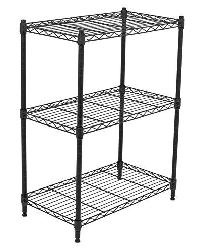 Internets Best 3-Tier Wire Shelving - Flat Black - Heavy Duty Shelf - Wide Adjustable Rack Unit - Kitchen Storage