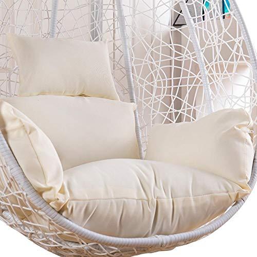 Cojín colgante para silla de huevo, antideslizante, gruesa, para colgar en la cesta de la silla con almohada, alfombrilla suave para colgar huevos, hamaca, columpio Blanco resistente al agua.